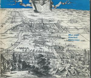 Vooromslag van 'Men sagh Haerlem bestormen...'Op de prent vooraan Haarlem-Noord met rechts Huis ter Kleef, bezet door Don Frederik van Alva en zijn Spaanse troepen.