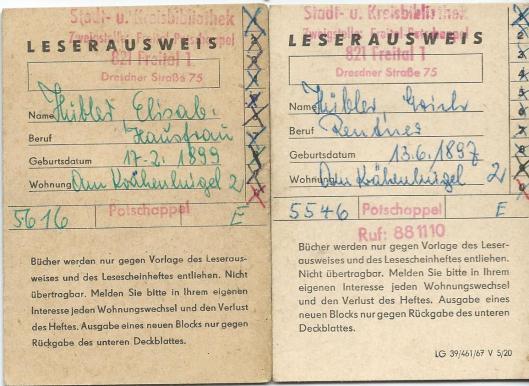 Leserausweis Stadt- und Kreisbibliothek Freital